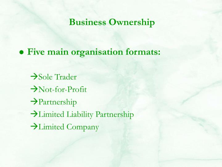 Five main organisation formats: