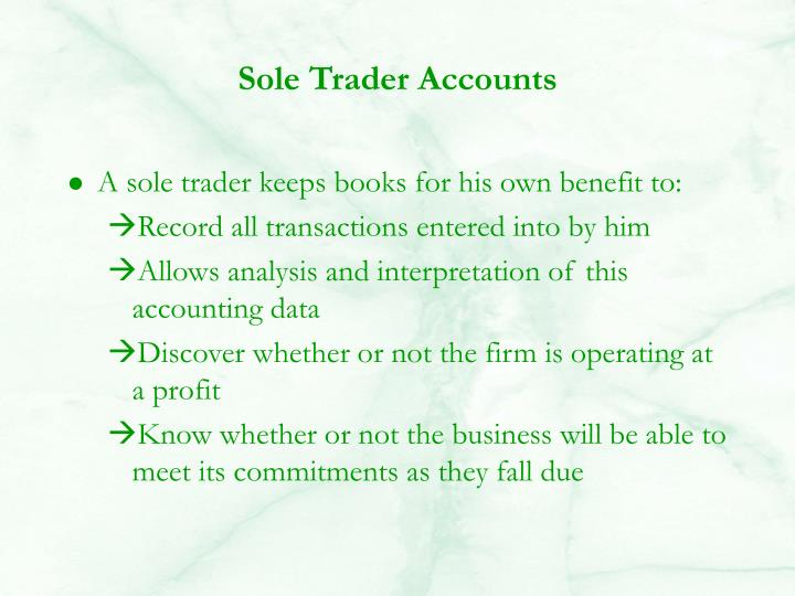 Sole Trader Accounts