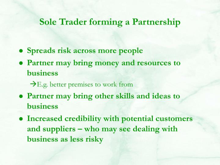 Sole Trader forming a Partnership