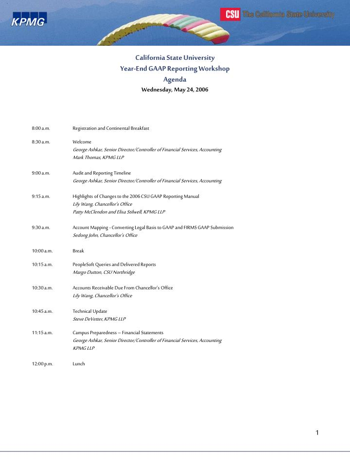 California state university year end gaap reporting workshop agenda wednesday may 24 2006
