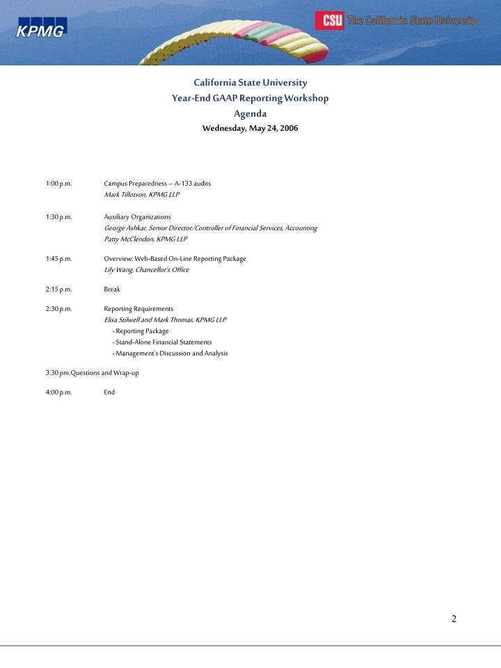 California state university year end gaap reporting workshop agenda wednesday may 24 20061