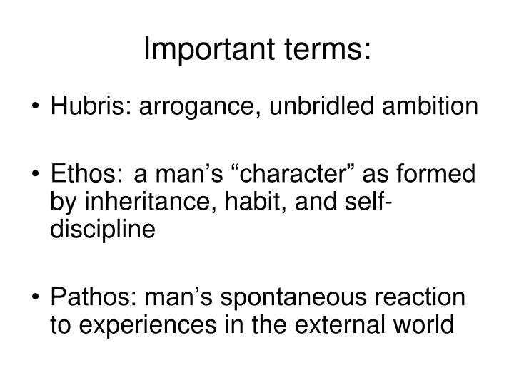 Important terms: