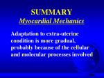 summary myocardial mechanics