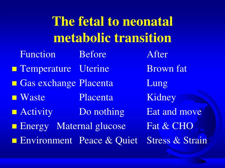 The fetal to neonatal