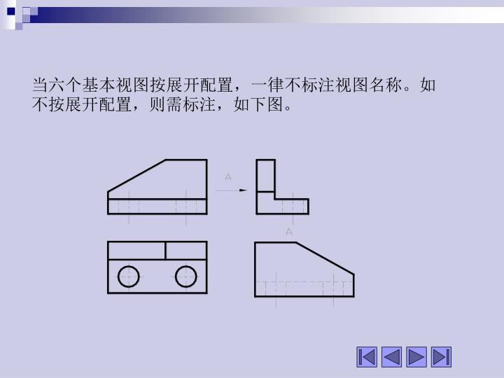 当六个基本视图按展开配置,一律不标注视图名称。如不按展开配置,则需标注,如下图。