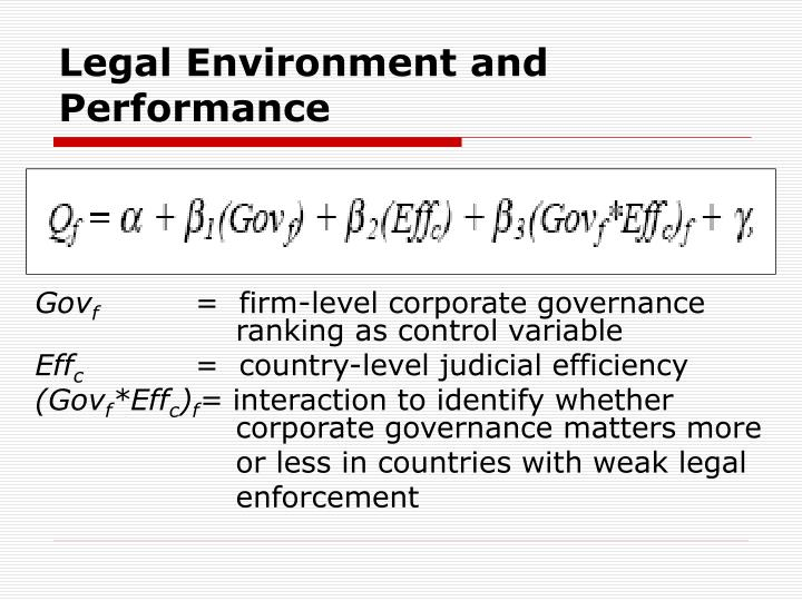 Legal Environment and Performance