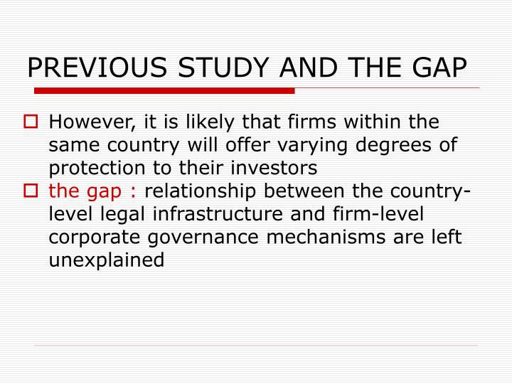 PREVIOUS STUDY AND THE GAP