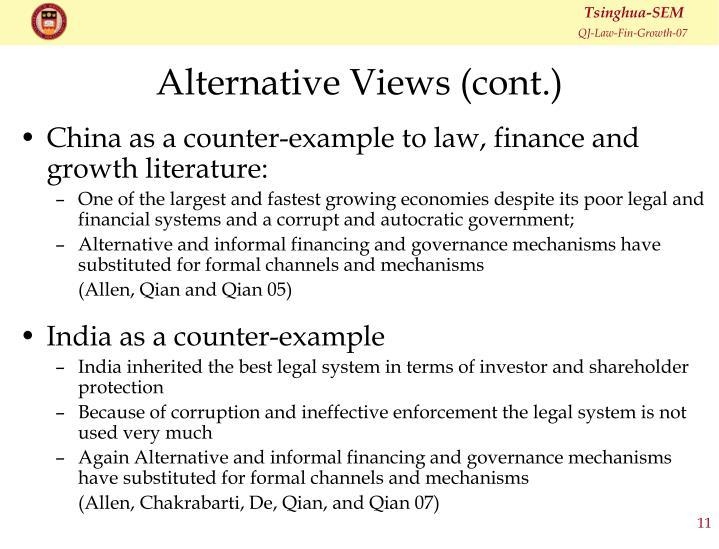 Alternative Views (cont.)