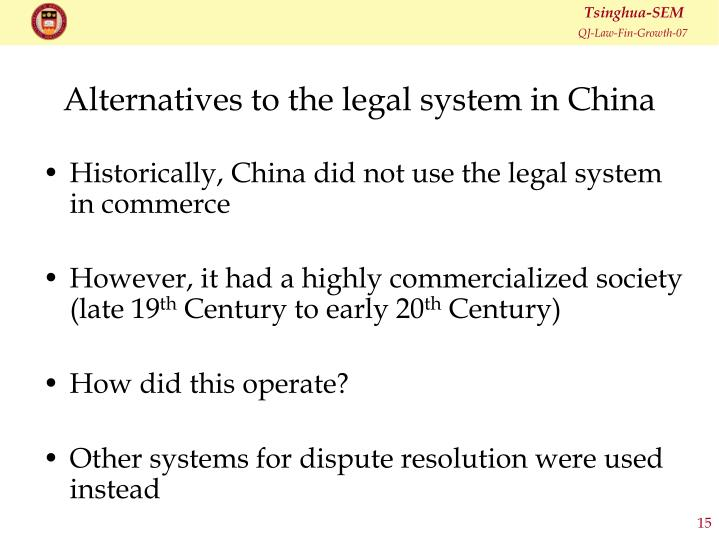Alternatives to the legal system in China