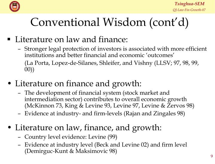 Conventional Wisdom (cont'd)
