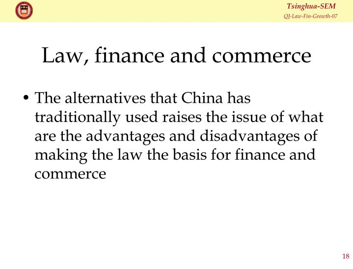 Law, finance and commerce