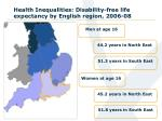 health inequalities disability free life expectancy by english region 2006 08