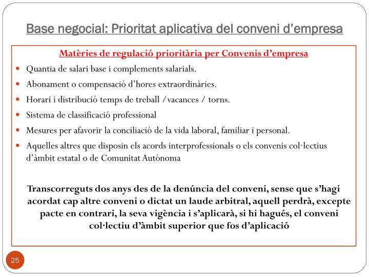 Base negocial: Prioritat aplicativa del conveni d'empresa