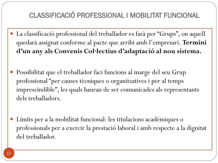 CLASSIFICACIÓ PROFESSIONAL I MOBILITAT FUNCIONAL