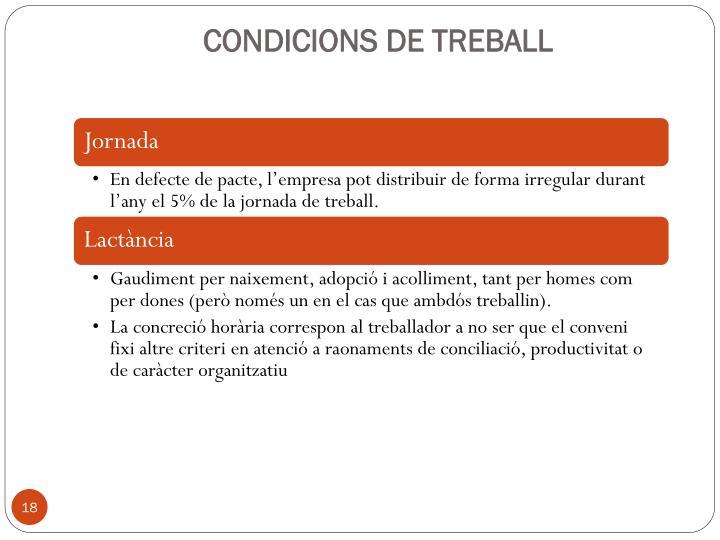 CONDICIONS DE TREBALL