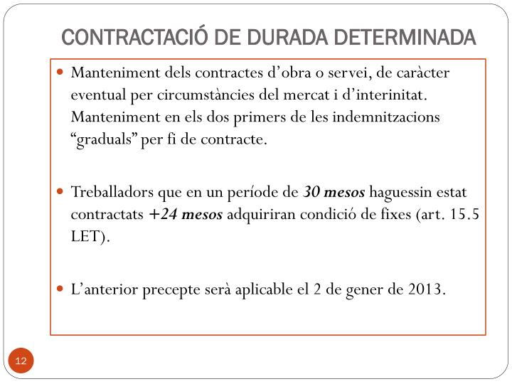 CONTRACTACIÓ DE DURADA DETERMINADA