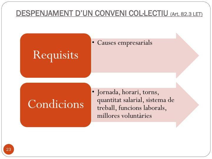 DESPENJAMENT D'UN CONVENI COL·LECTIU