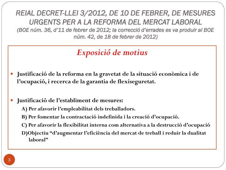 REIAL DECRET-LLEI 3/2012, DE 10 DE FEBRER, DE MESURES URGENTS PER A LA REFORMA DEL MERCAT LABORAL