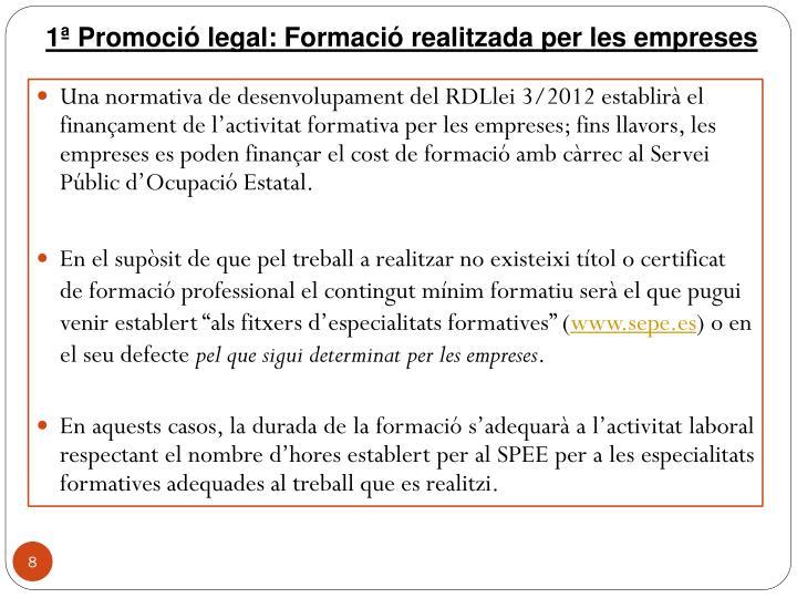 1ª Promoció legal: Formació realitzada per les empreses