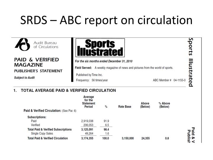 SRDS – ABC report on circulation