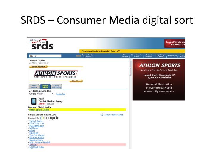 SRDS – Consumer Media digital sort