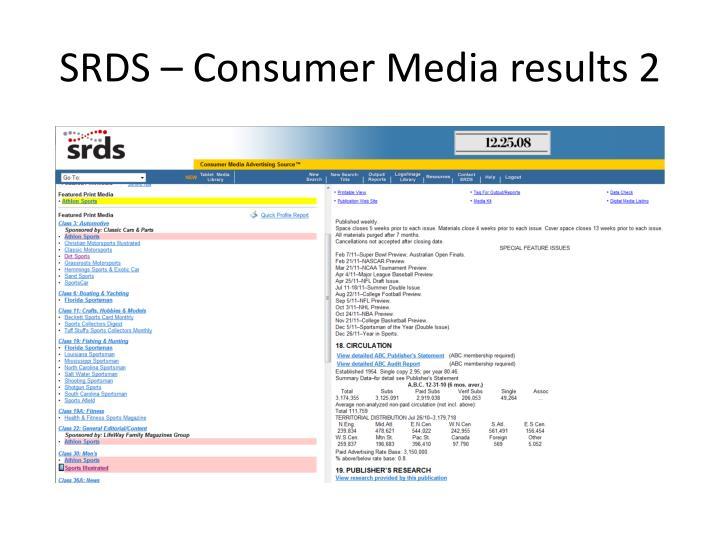 SRDS – Consumer Media results 2