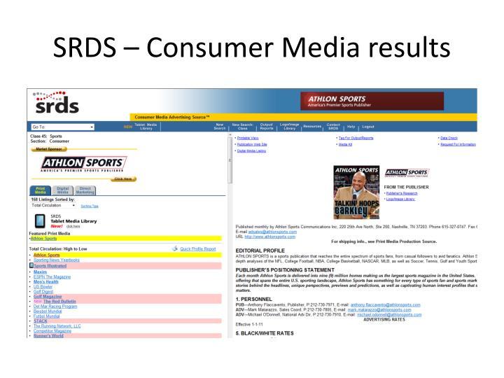SRDS – Consumer Media results