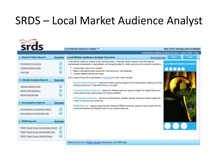 SRDS – Local Market Audience Analyst