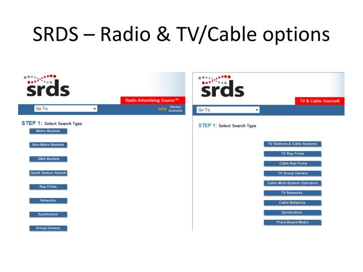 SRDS – Radio & TV/Cable options