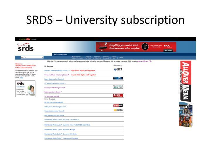 SRDS – University subscription
