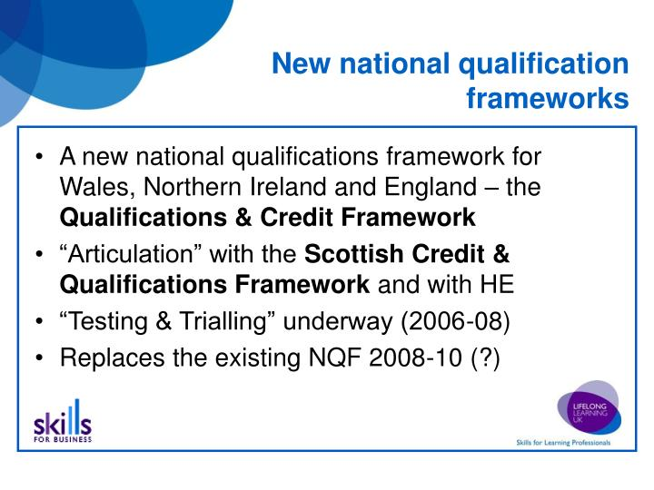 New national qualification frameworks