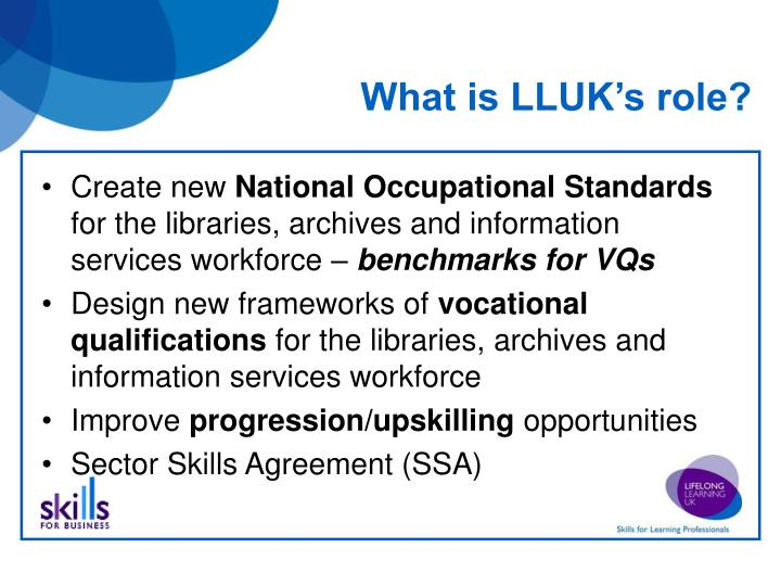 What is LLUK's role?