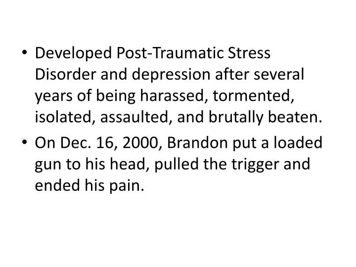 Developed Post-Traumatic Stress Disorder and depression after several years of being harassed, tormented, isolated, assaulted, and brutally beaten.