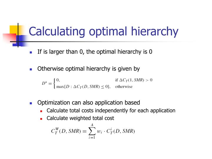 Calculating optimal hierarchy