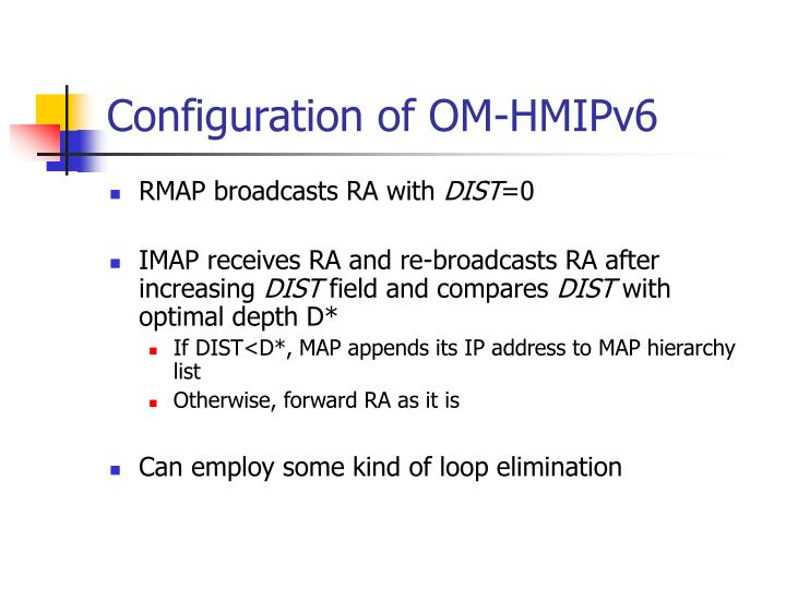 Configuration of OM-HMIPv6