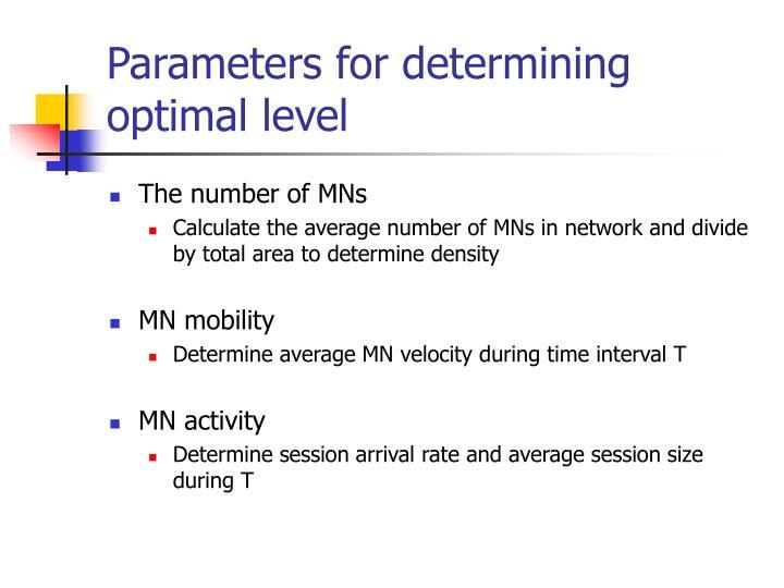 Parameters for determining optimal level