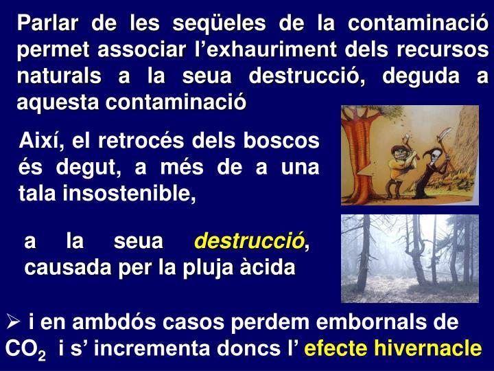 Parlar de les seqüeles de la contaminació permet associar l'exhauriment dels recursos naturals a la seua destrucció, deguda a aquesta contaminació