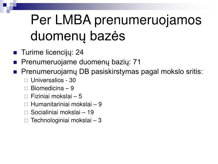 Per LMBA prenumeruojamos duomenų bazės