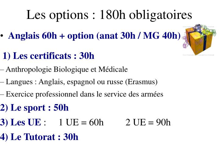 Les options : 180h obligatoires