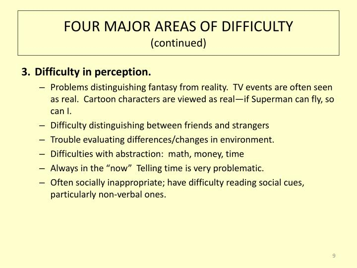FOUR MAJOR AREAS OF DIFFICULTY