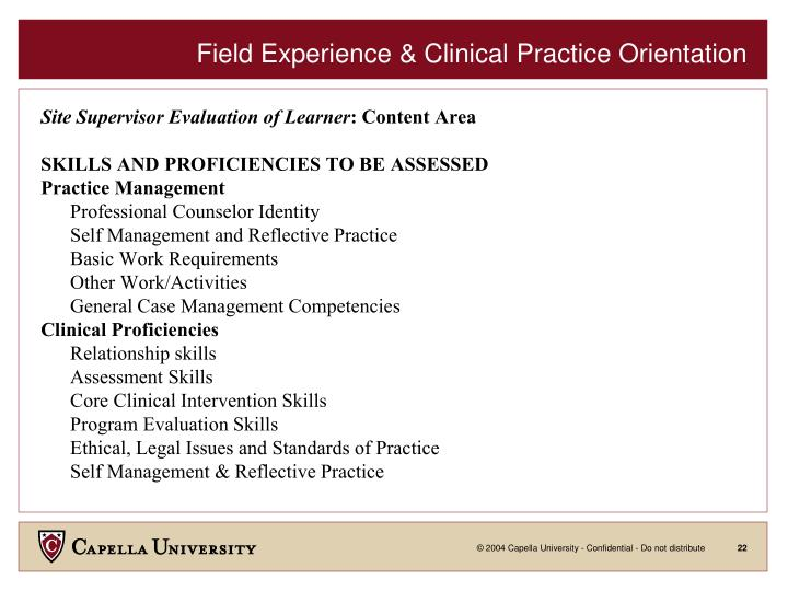 Field Experience & Clinical Practice Orientation