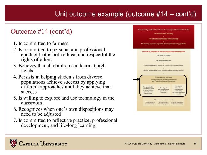 Unit outcome example (outcome #14 – cont'd)
