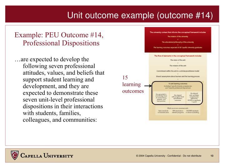 Unit outcome example (outcome #14)