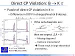 direct cp violation b k