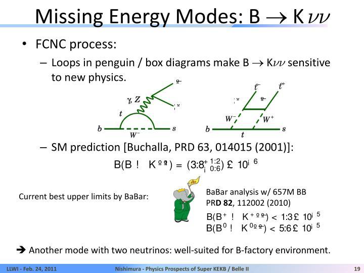 Missing Energy Modes: B