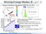 missing energy modes b