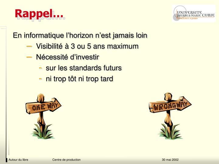Rappel…