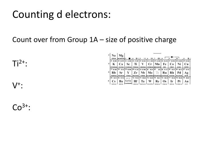 Counting d electrons: