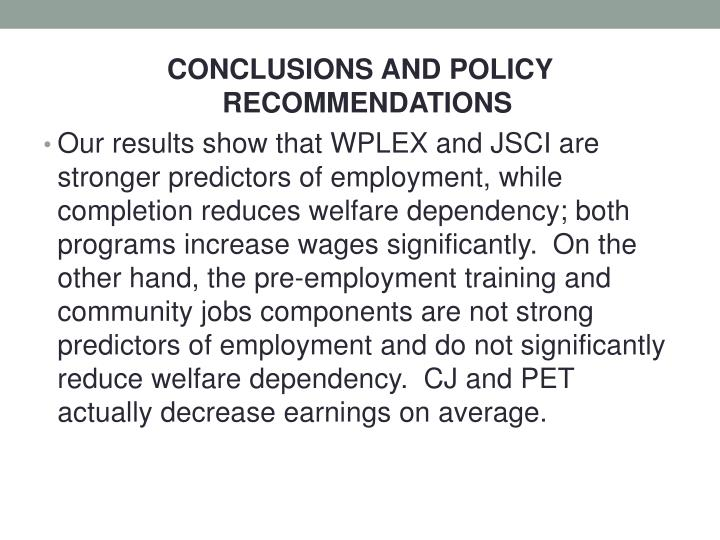 CONCLUSIONS AND POLICY RECOMMENDATIONS