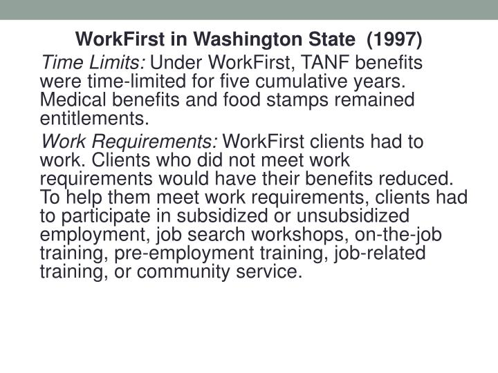 WorkFirst in Washington State  (1997)